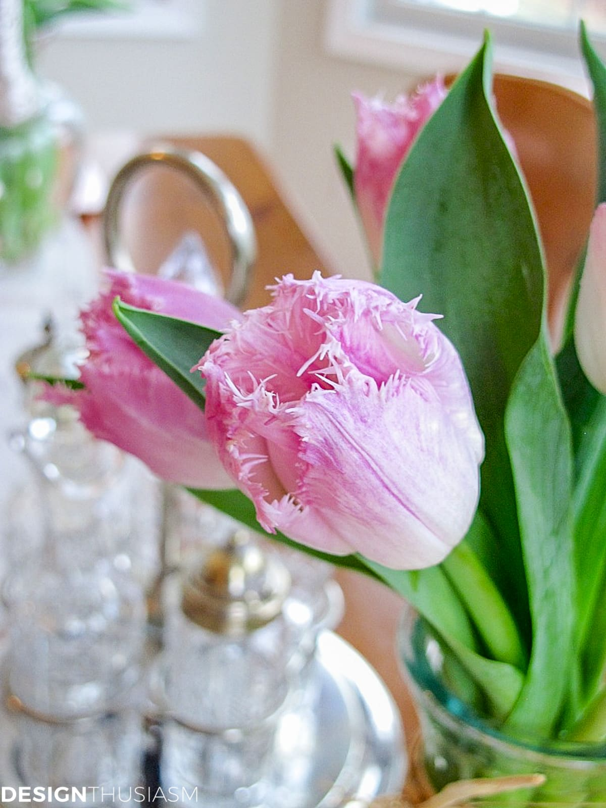 pink fringe tulips in a vintage kitchen