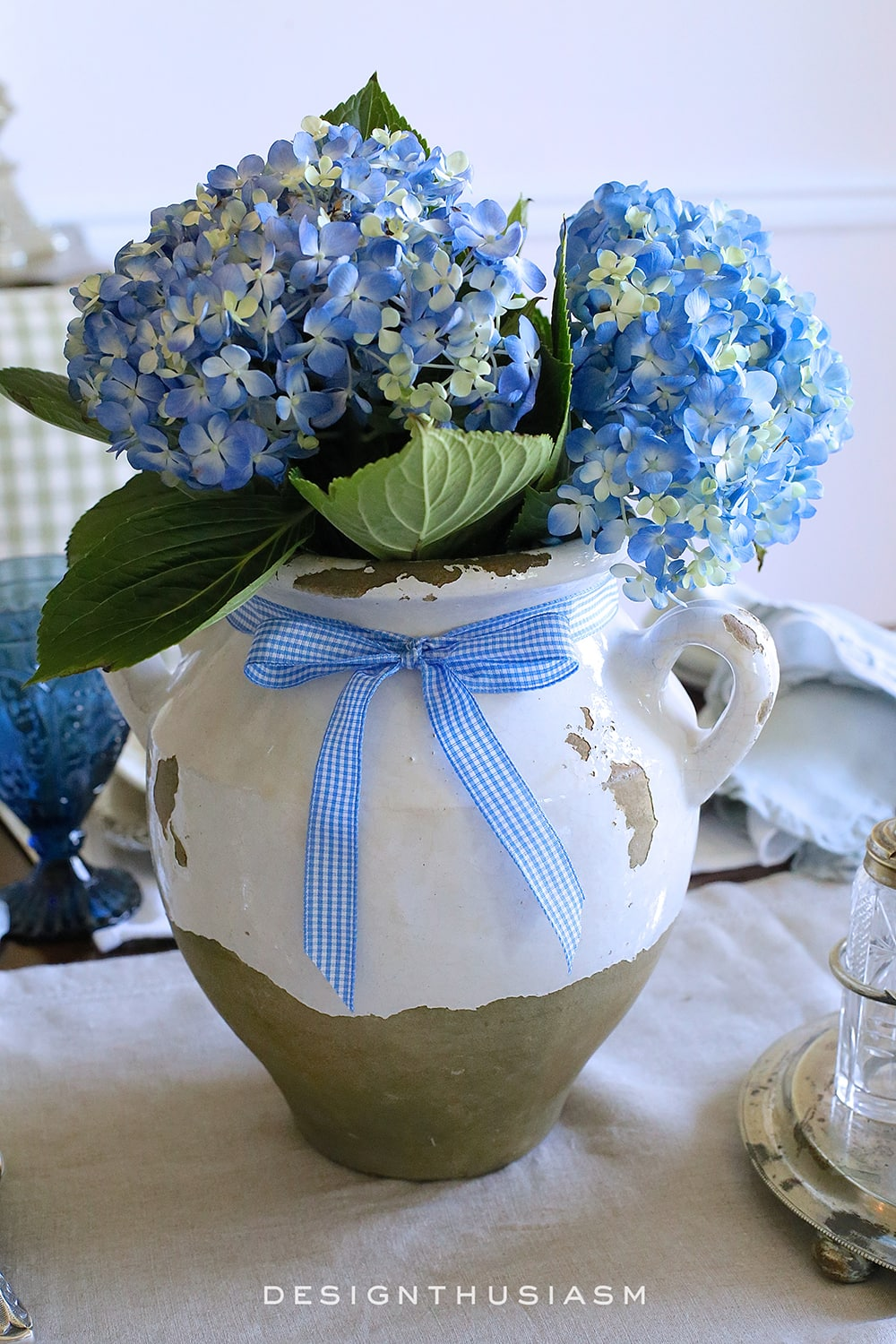 Country French Blue And White Tablescape