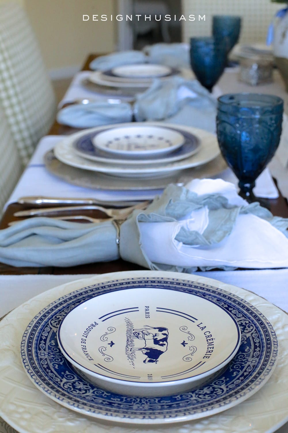 Country French Blue and White Tablescape | Designthusiasm.com