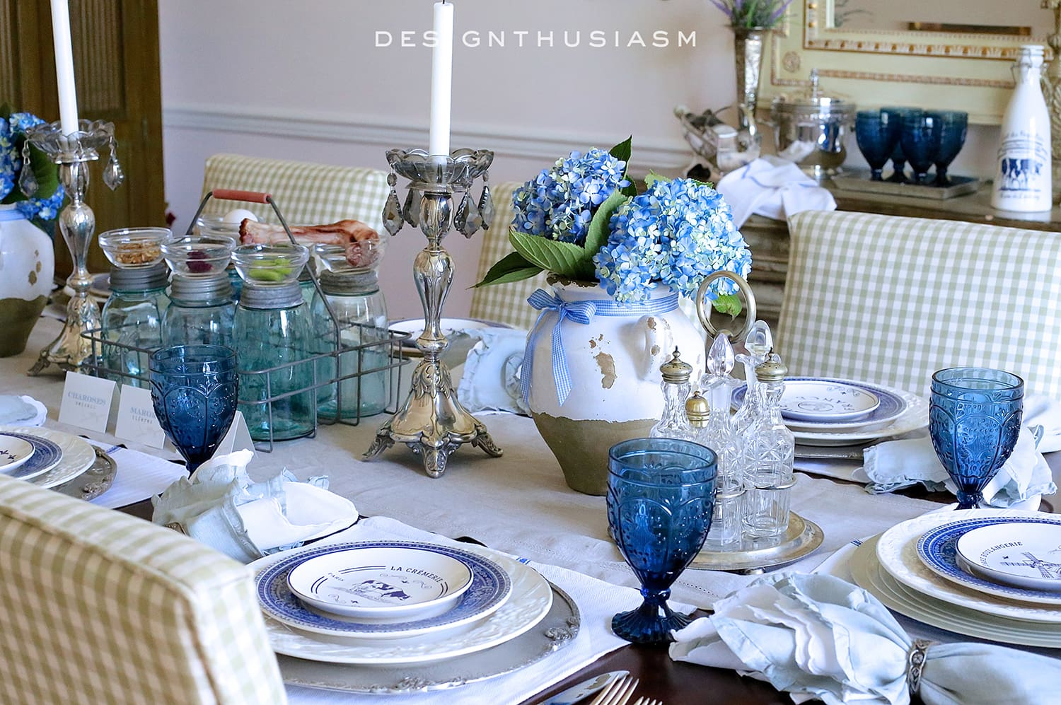 Country french blue and white tablescape - French country table centerpieces ...