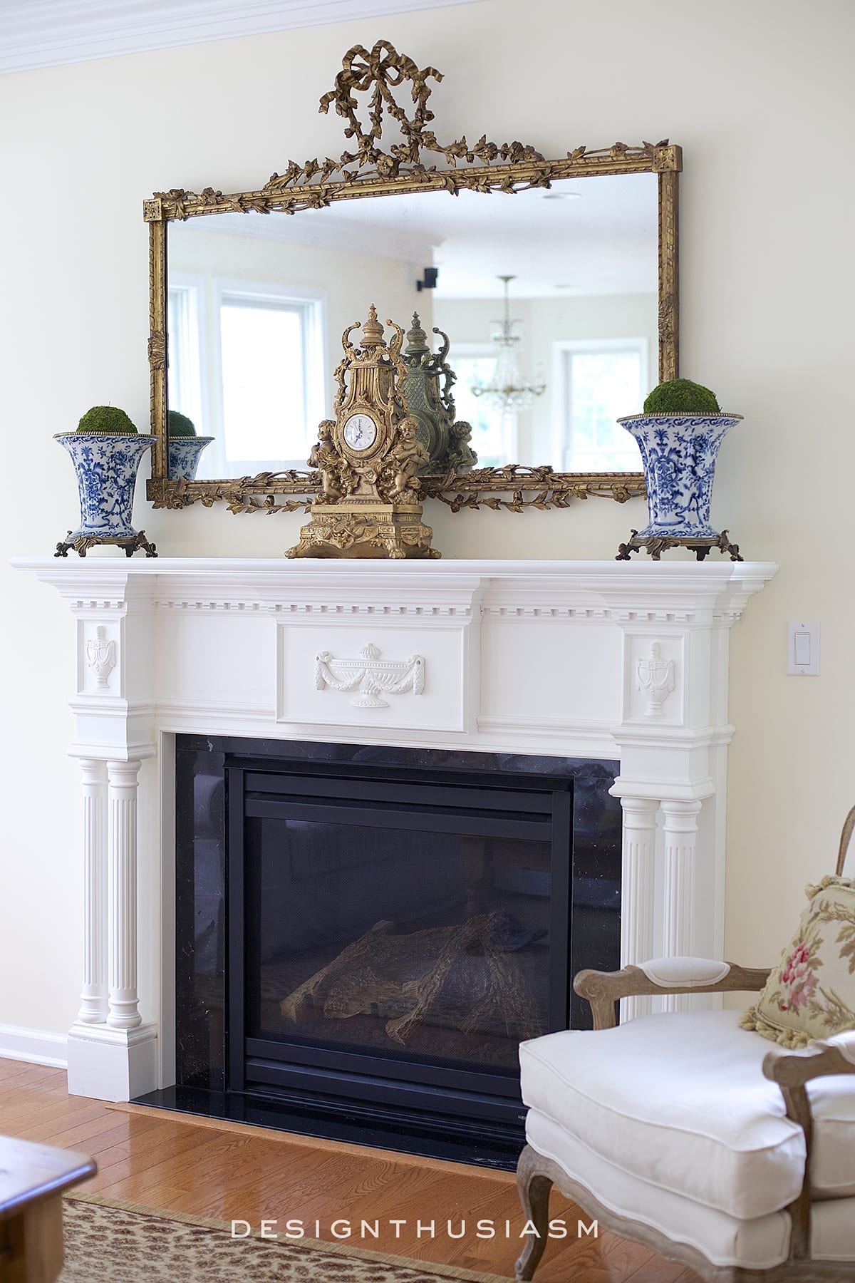 french country antique mirror over the mantel