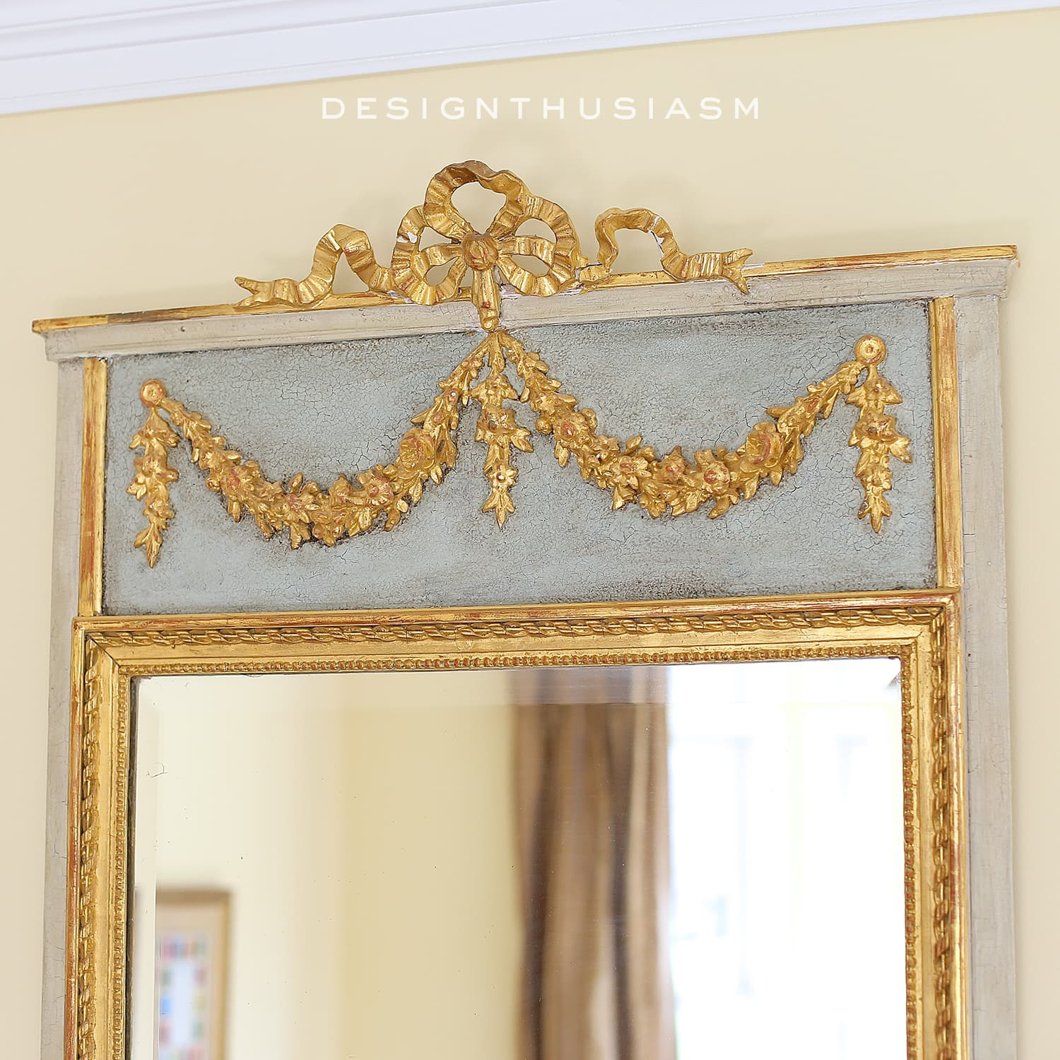 French trumeau decorative mirrors in the french country living room
