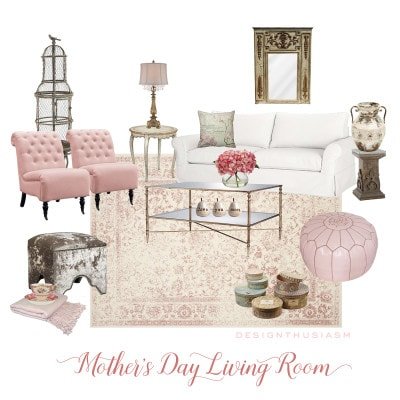 May e-Design | Floral and Pink Living Room