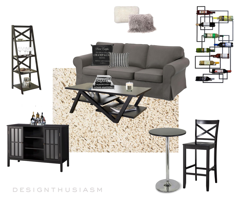 E-Design | Small Apartment Living Room | Designthusiasm.com