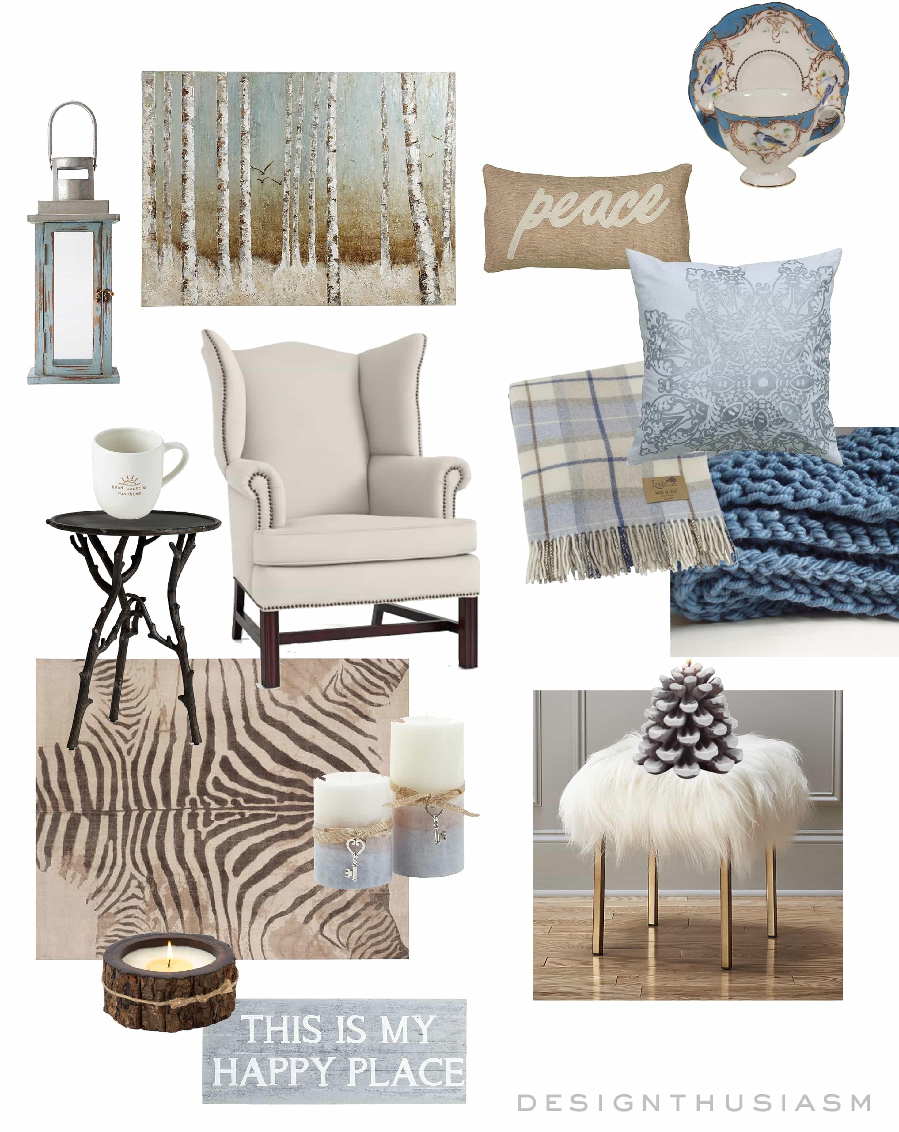 E-Design | Winter Blues Living Room | Designthusiasm.com