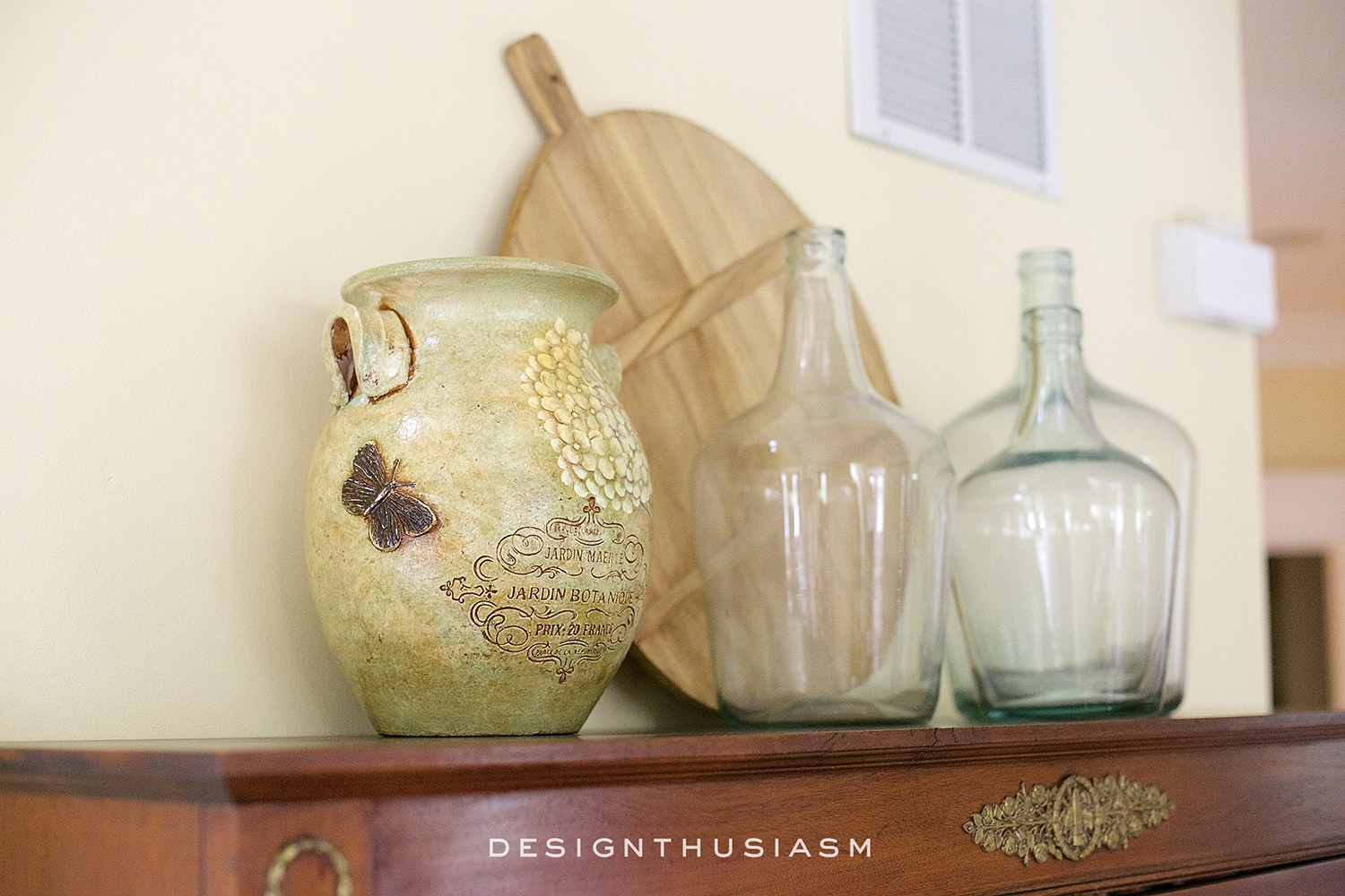 Demijohns and Farmhouse Touches in the Foyer | Designthusiasm.com