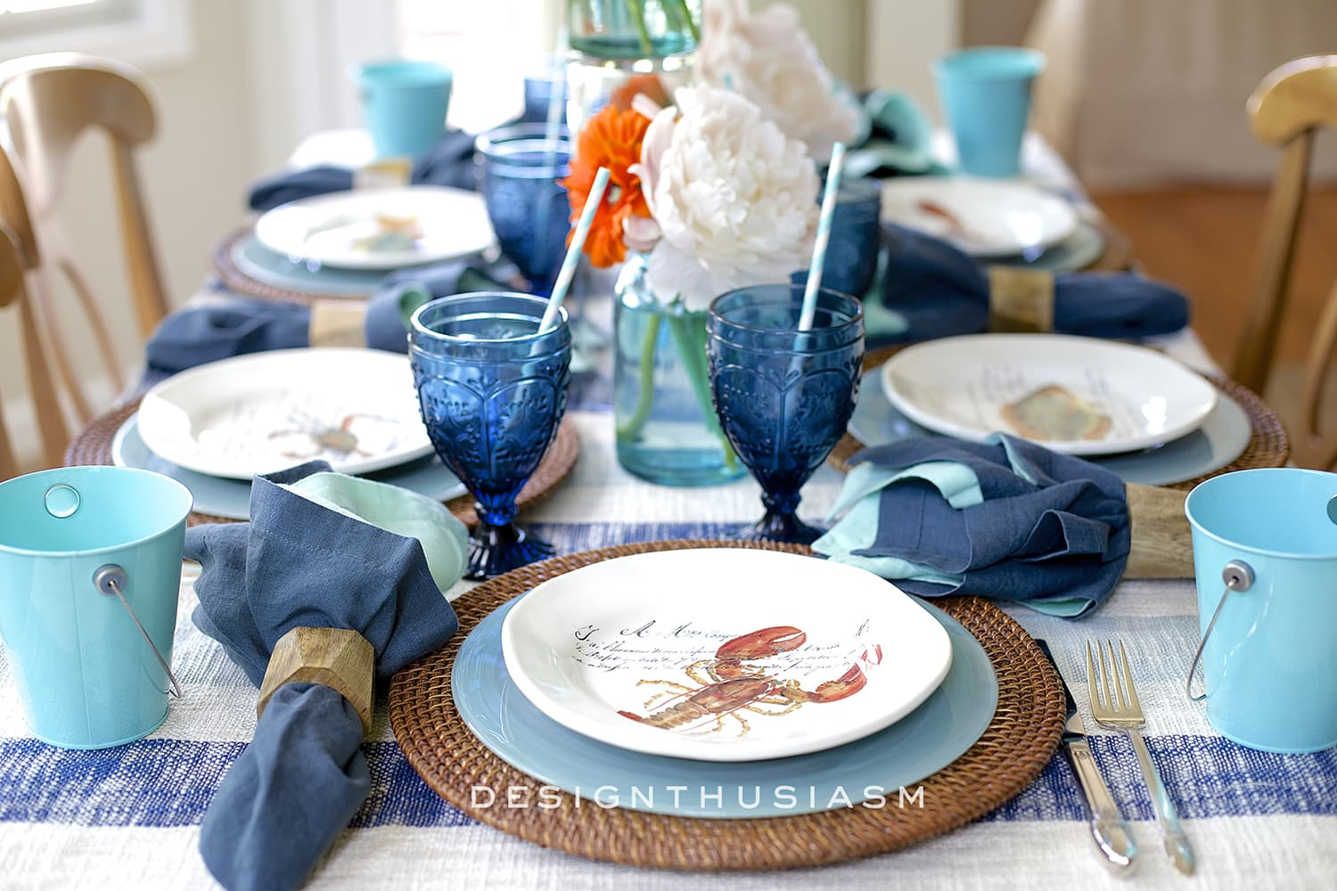 June Tablescape | Indigo Clambake | Designthusiasm.com
