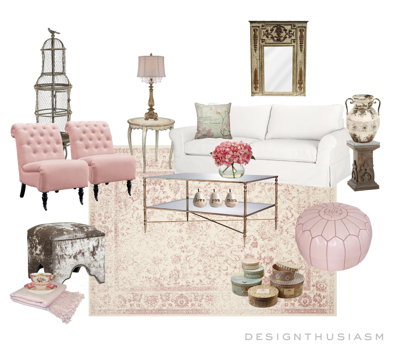 E-Design | Feminine Pink Living Room | Designthusiasm.com