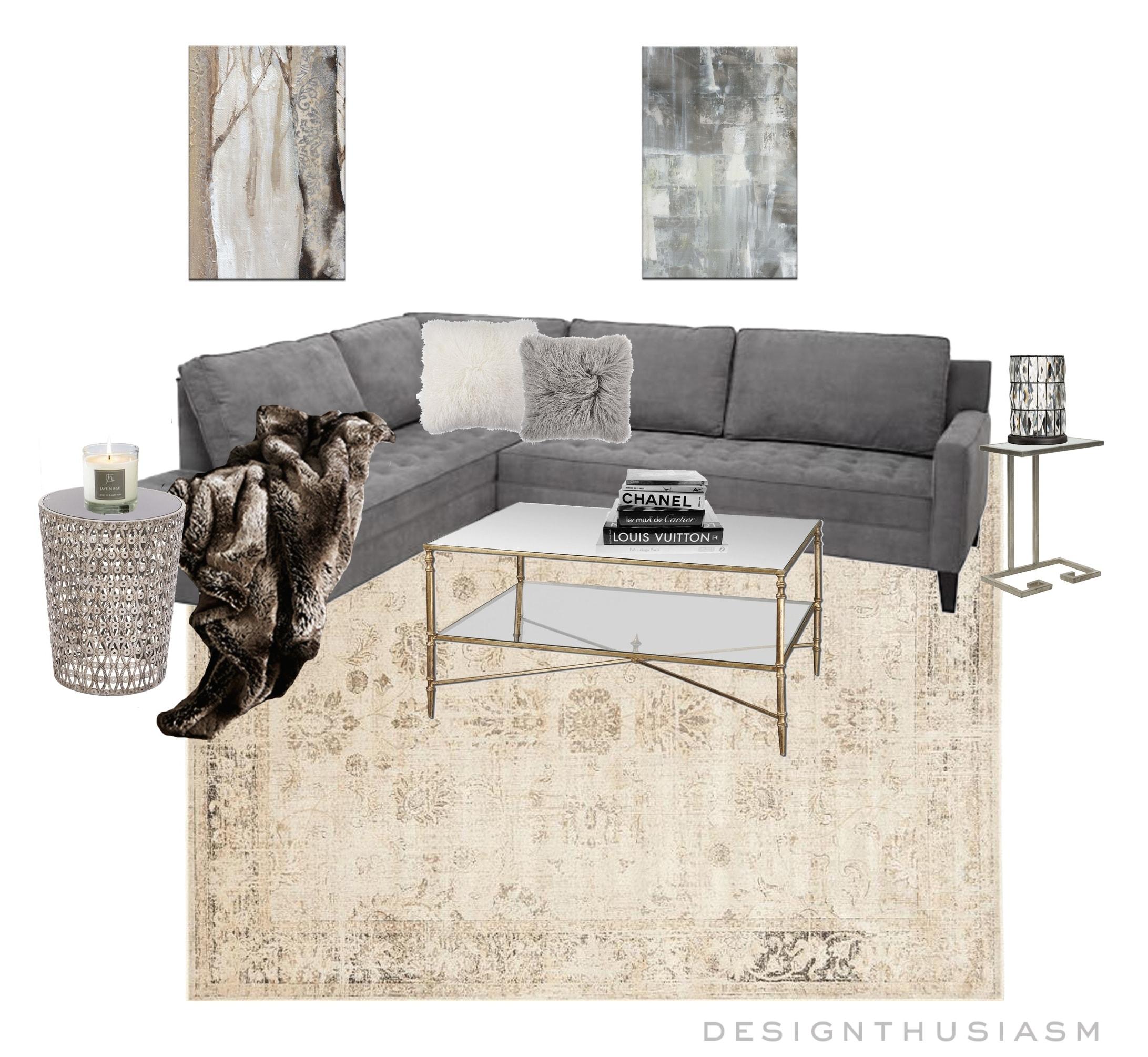 E-Design | Chelsea Apartment Living Room | Designthusiasm.com