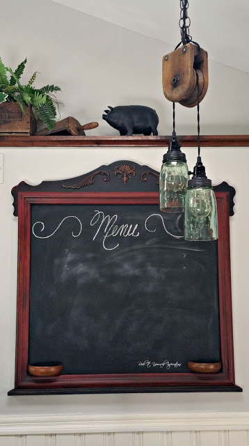 chalkboard and pulley light