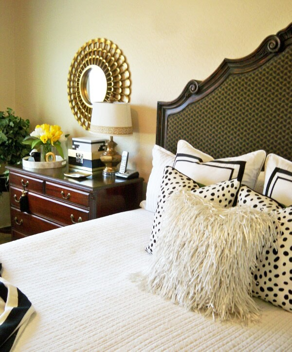 A Crisp Black and White Summer Bedroom by A Stroll Thru Life