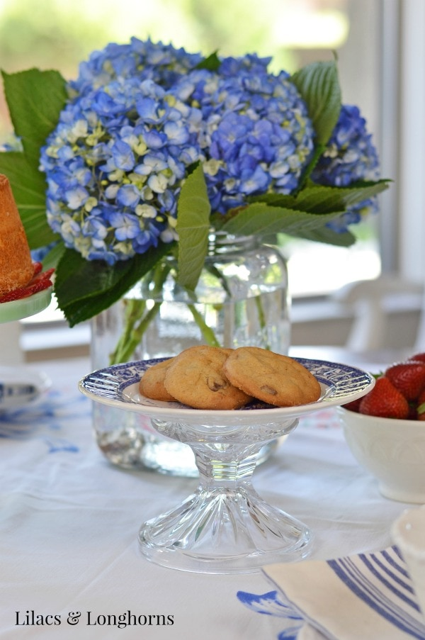 blue hydrangeas and chocoloate chip cookies
