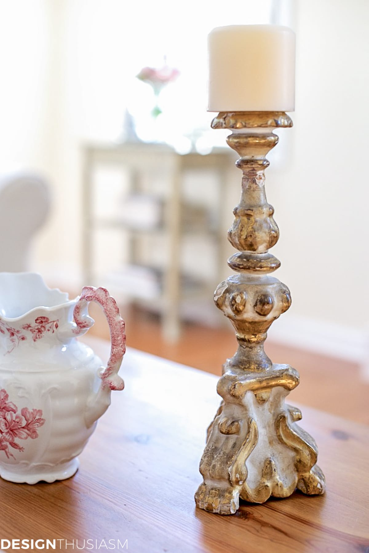 vintage candlestick in french country living room