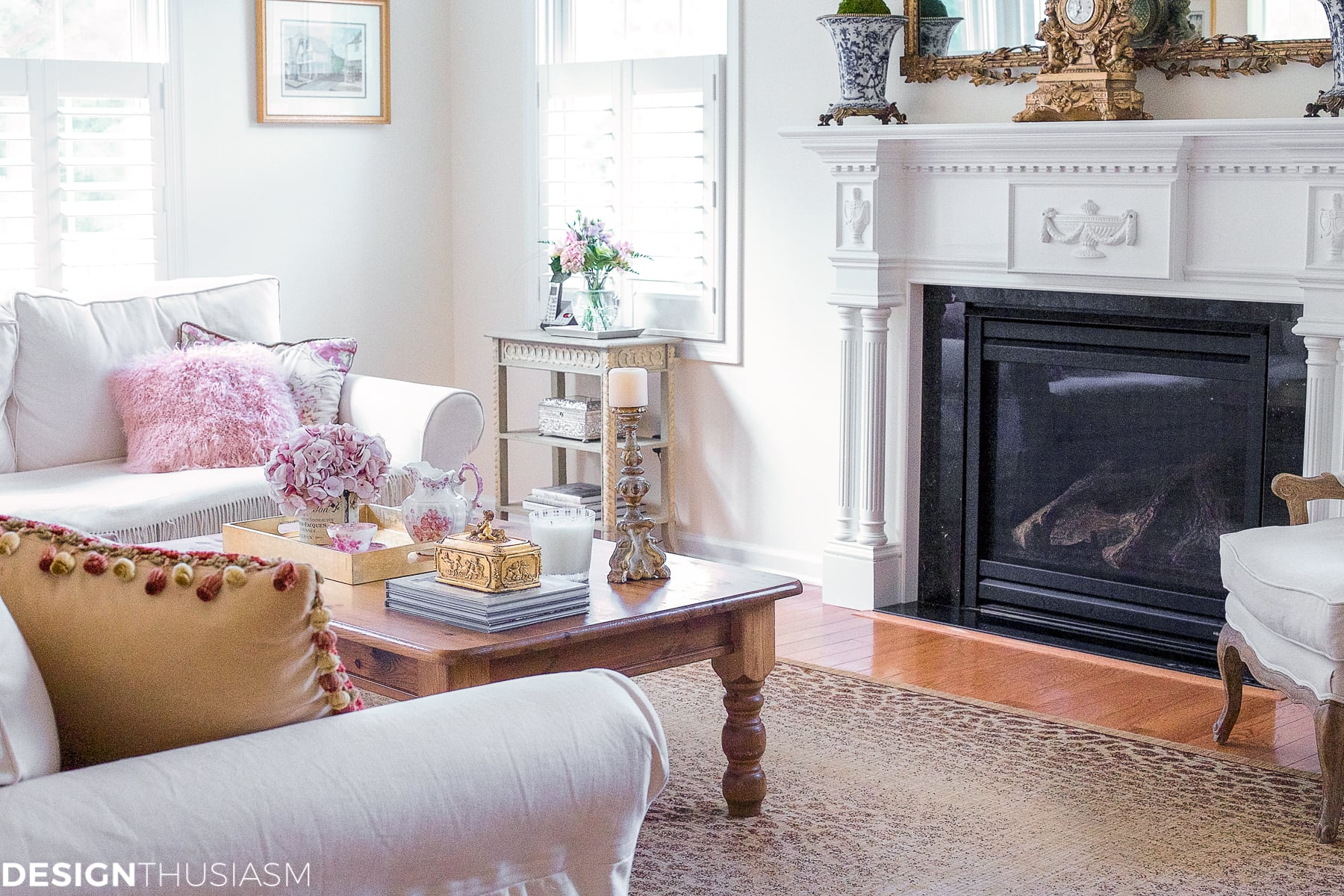 french country living room with small occasional tables