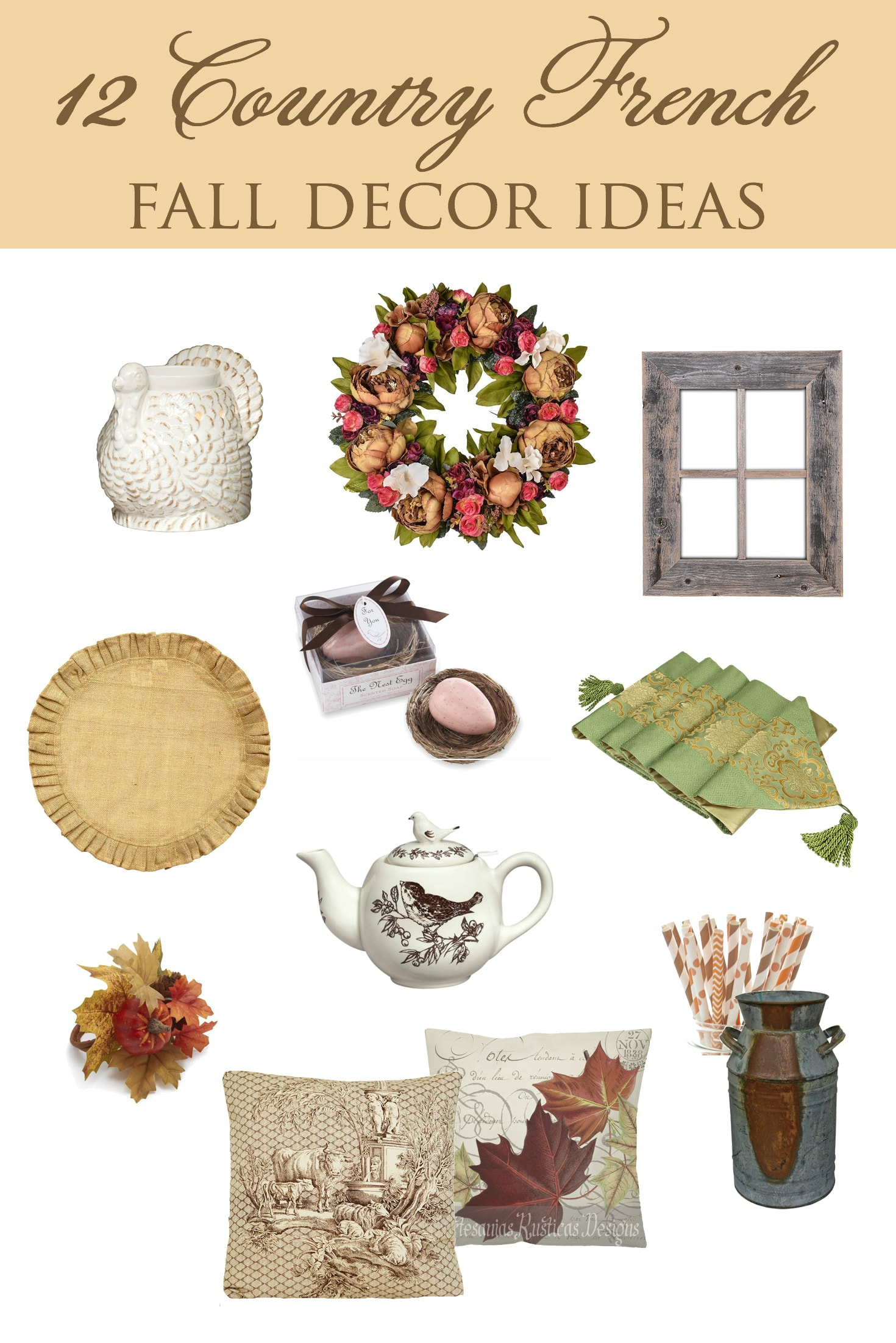 Country French Fall Decor | Designthusiasm.com