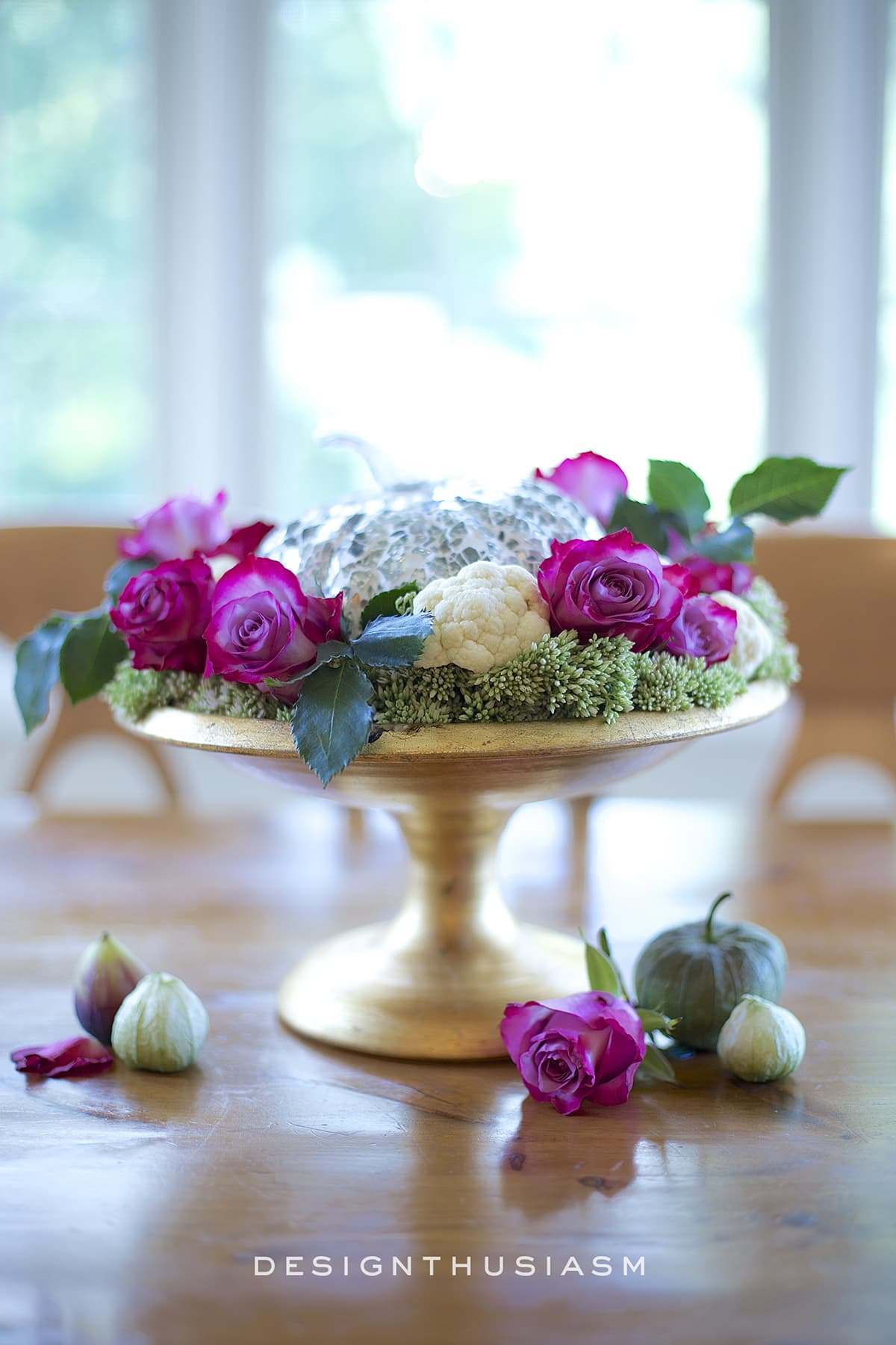 French Country Fall Centerpiece with pink and green flowers