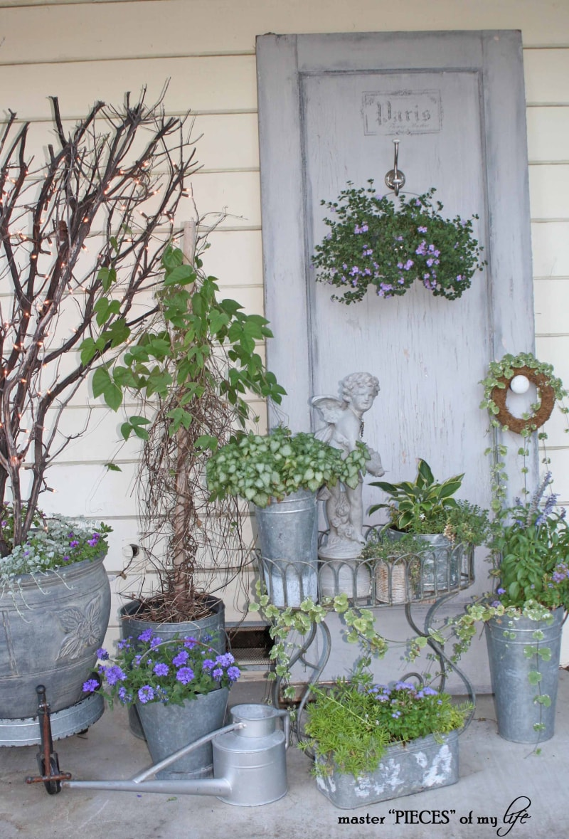 Gray Container Garden Vignette   Master Pieces of My Life