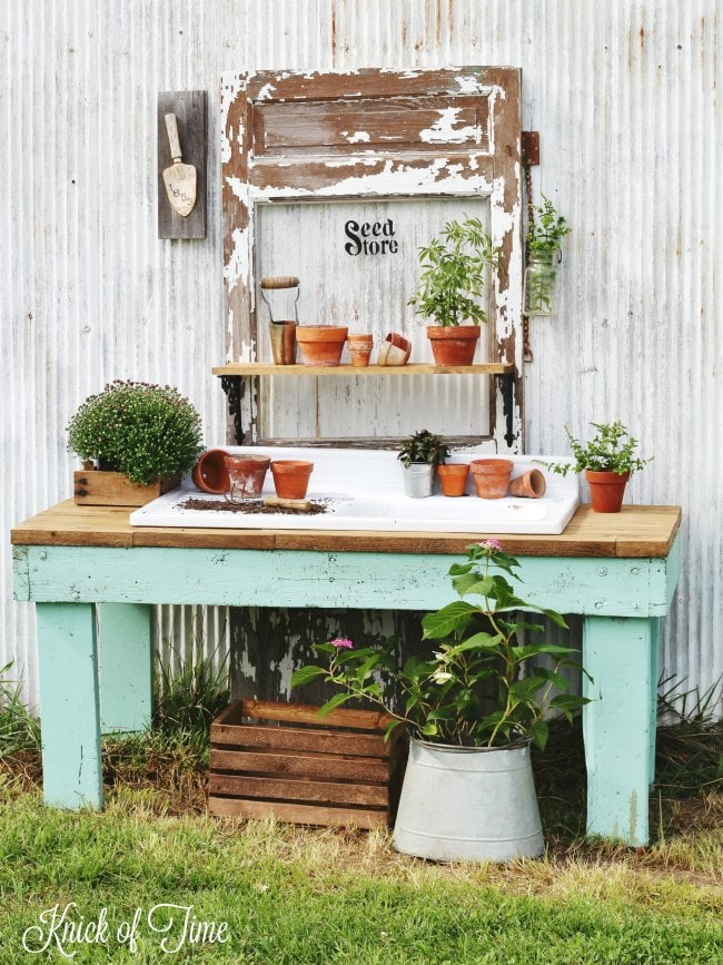 Potting Bench From Old Work Table | from Knick Of Time