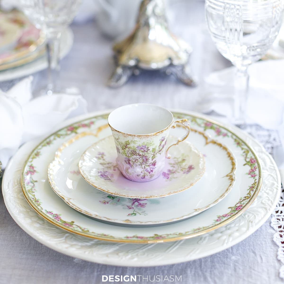 vintage china tablescape