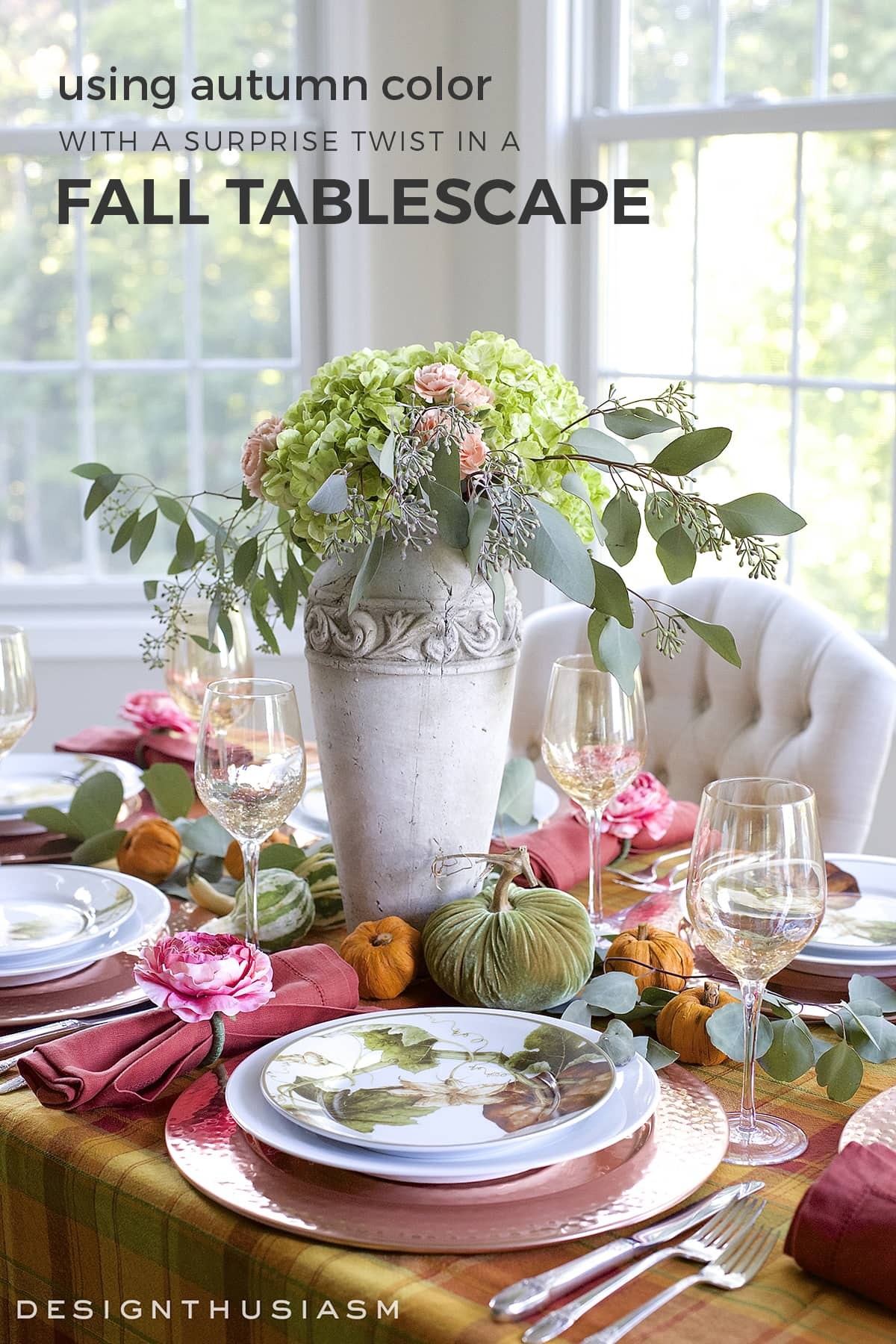 fall tablescape with an autumn color palette