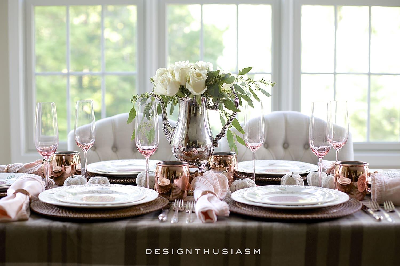 A Soft and Neutral Fall Table Setting | Designthusiasm.com