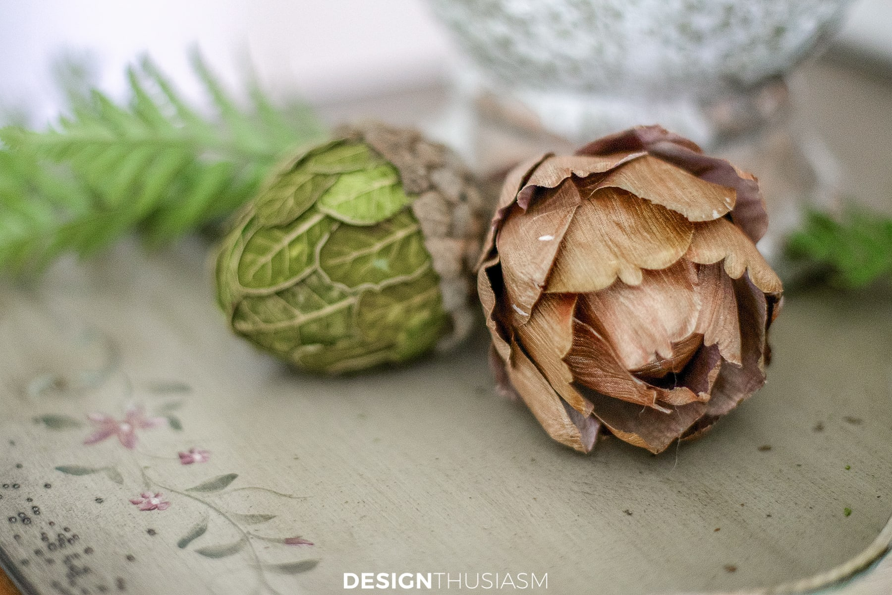 acorn and artichoke ornaments