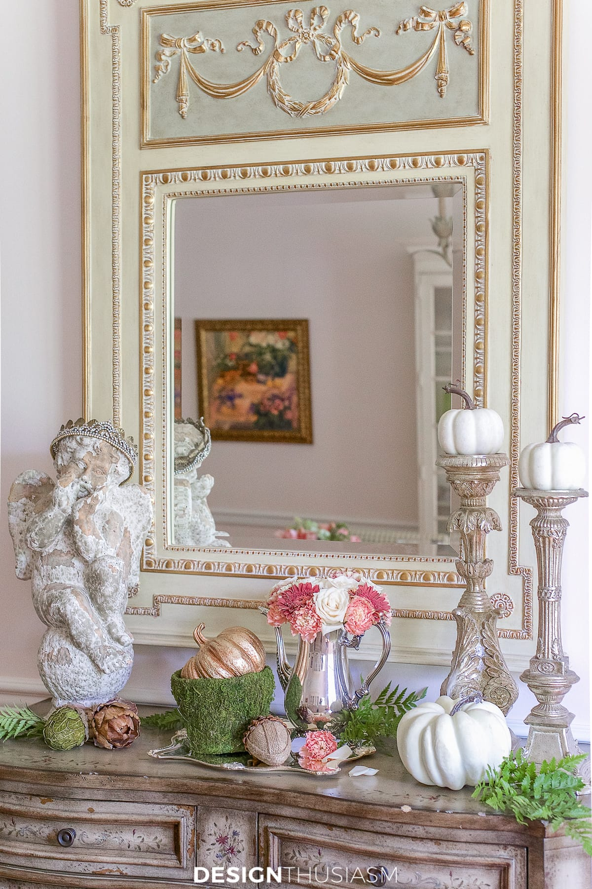 fall vignette on the sideboard