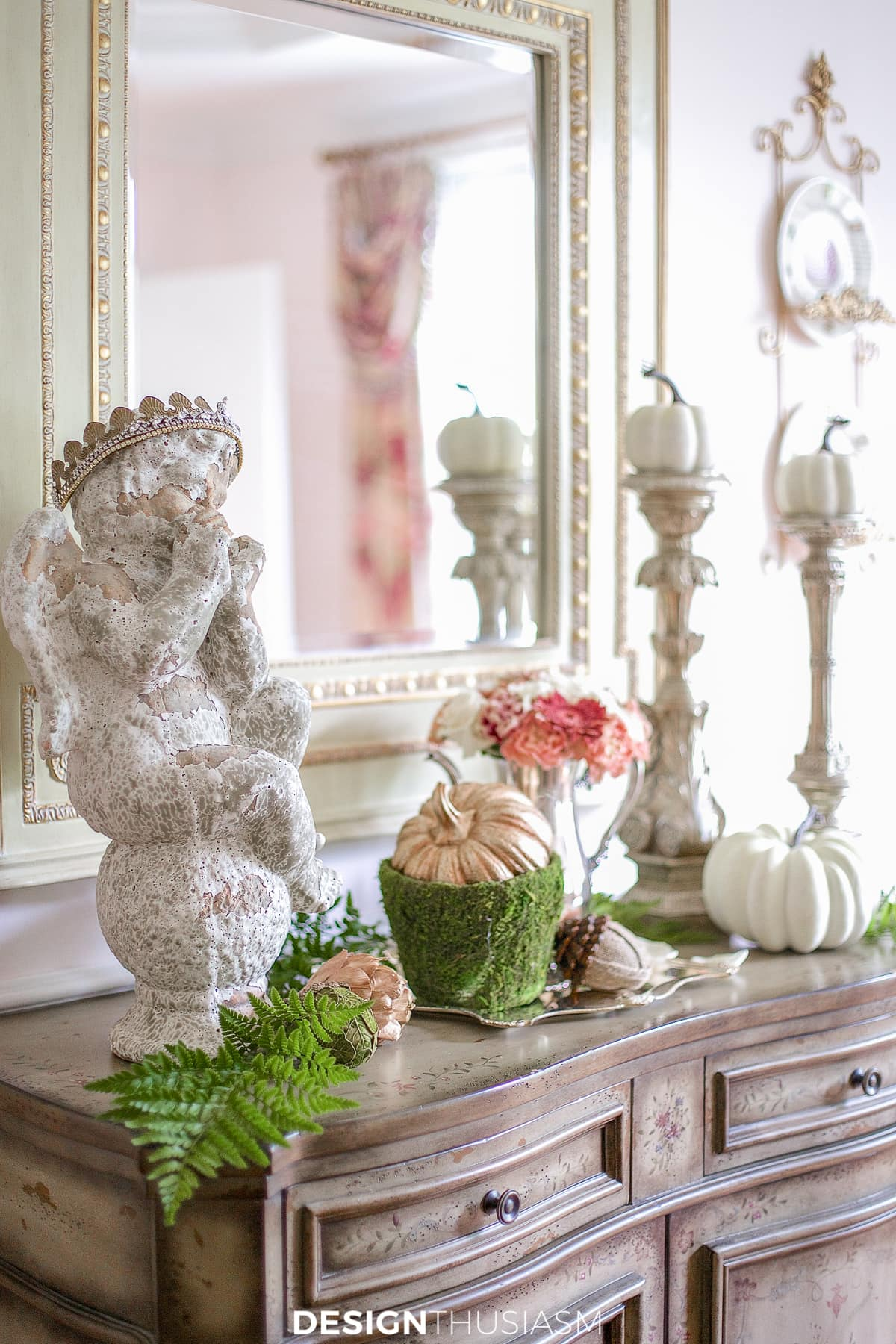 autumn decorations in a fall vignette