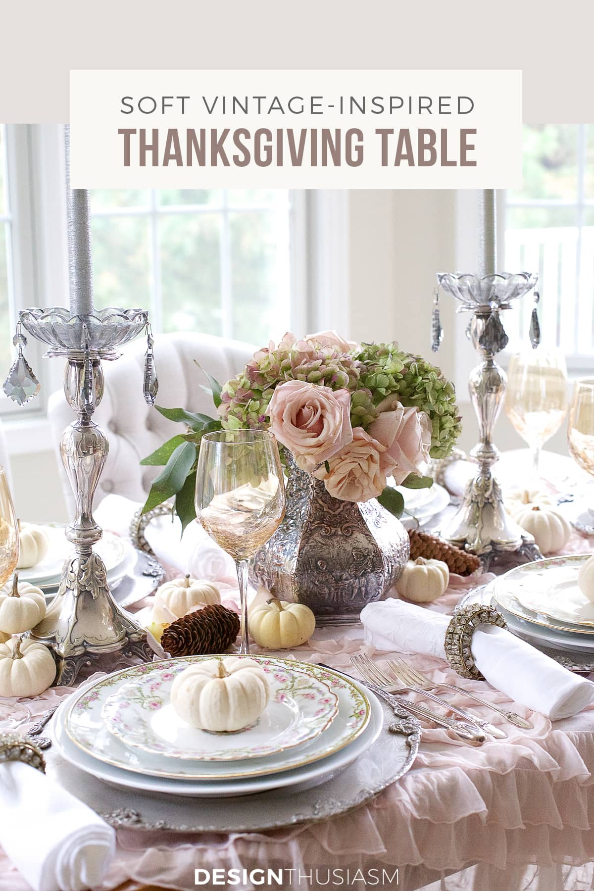 soft vintage Thanksgiving table