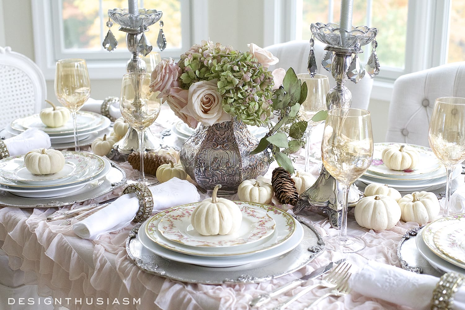 A soft vintage thanksgiving table holiday entertaining