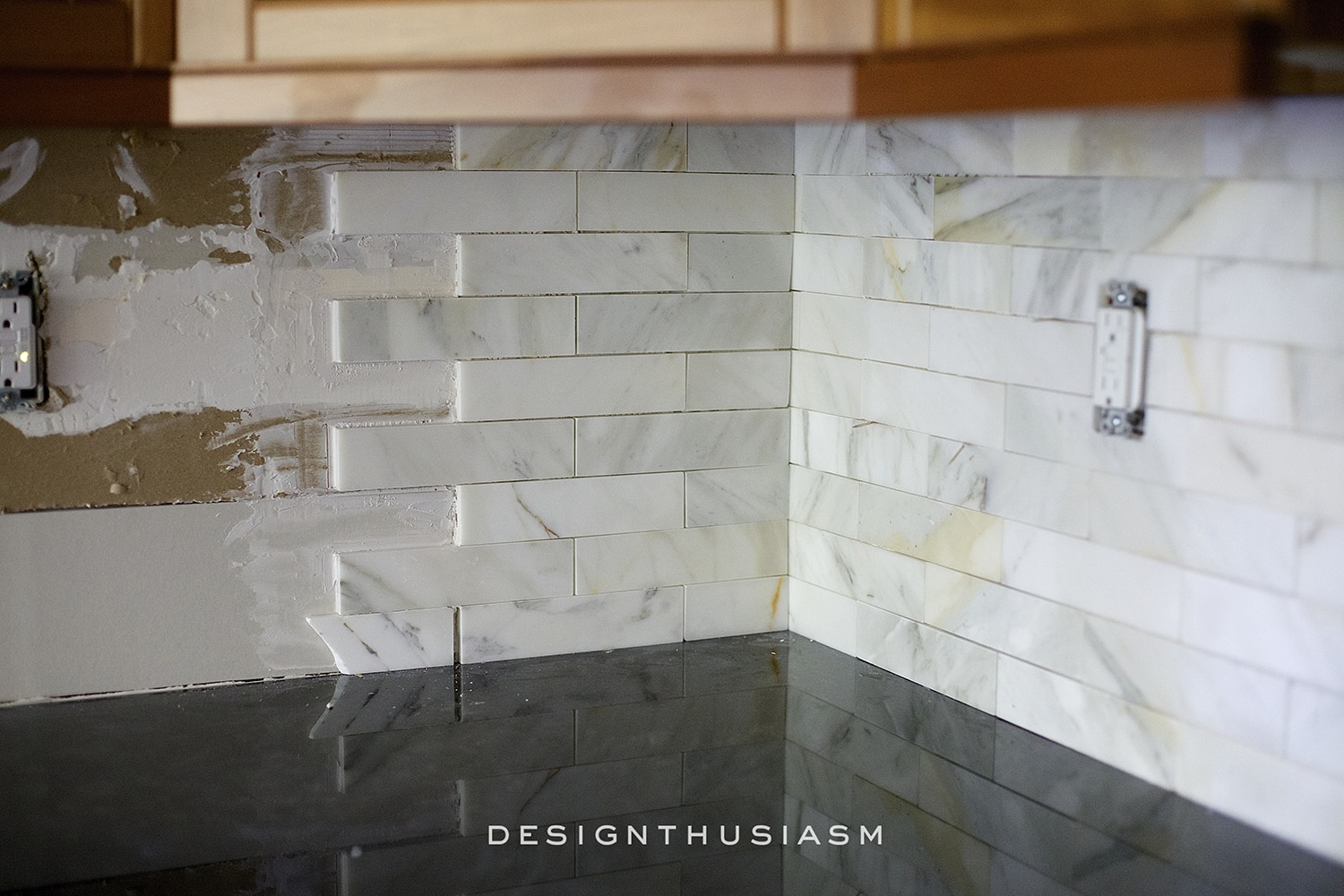 Calacatta Gold Marble Kitchen Backsplash