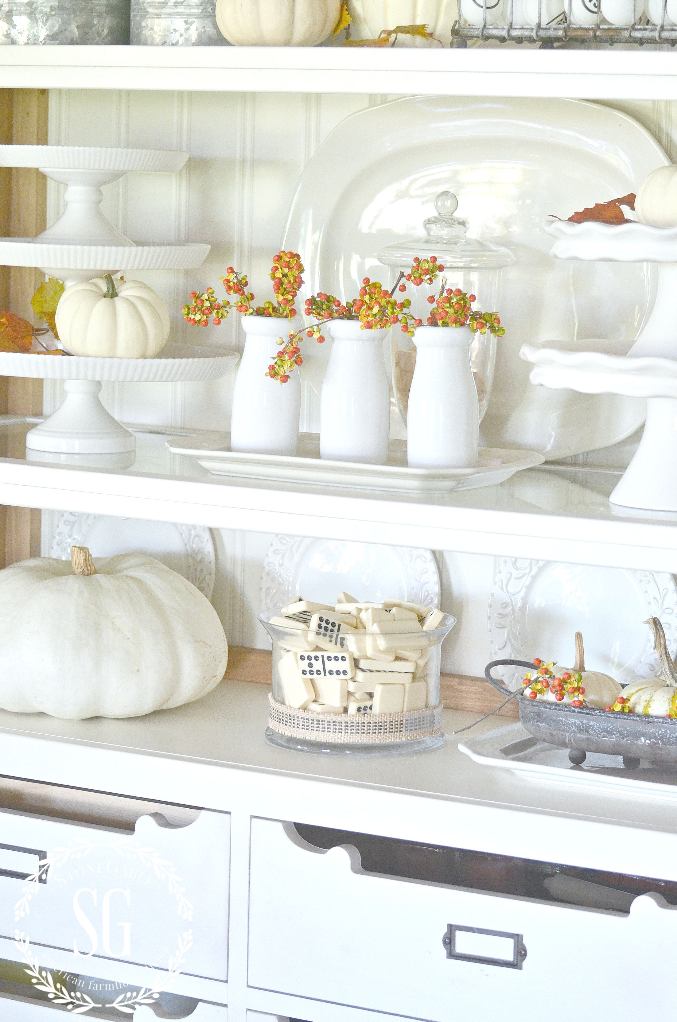 designer-tricks-for-beautifully-arranged-shelves-limited-color-palette-white-farmhouse-hutch-stonegableblog-com