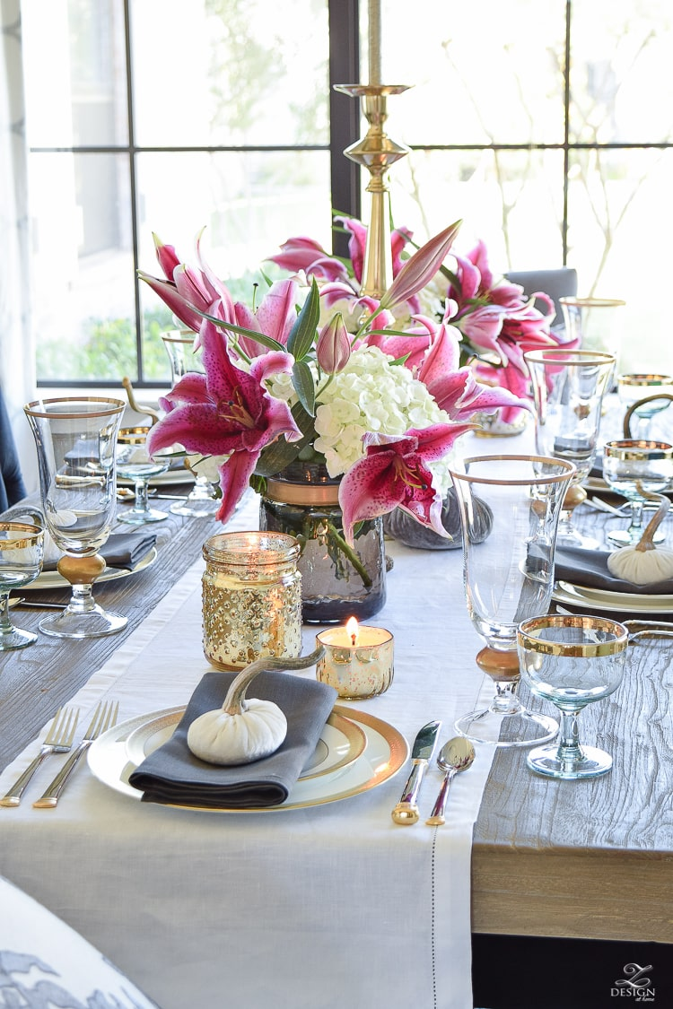 thanksgiving-table-scape-white-linen-table-runner-lennox-white-and-gold-dishes-hydrangeas-and-orchids-brass-candlestick-holders-3