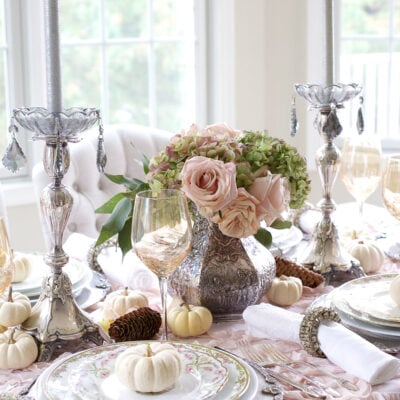 Using Vintage Plates to Create a Soft Thanksgiving Table