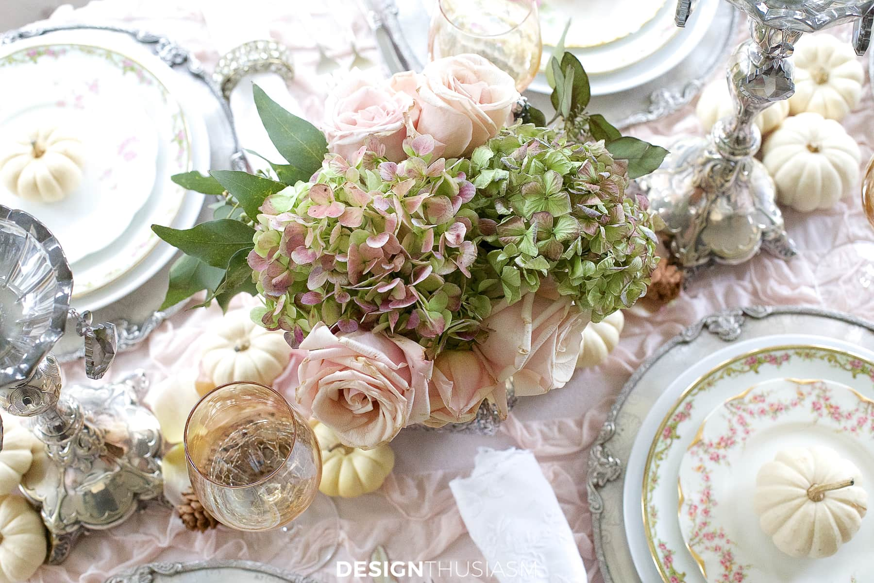soft vintage thanksgiving table floral