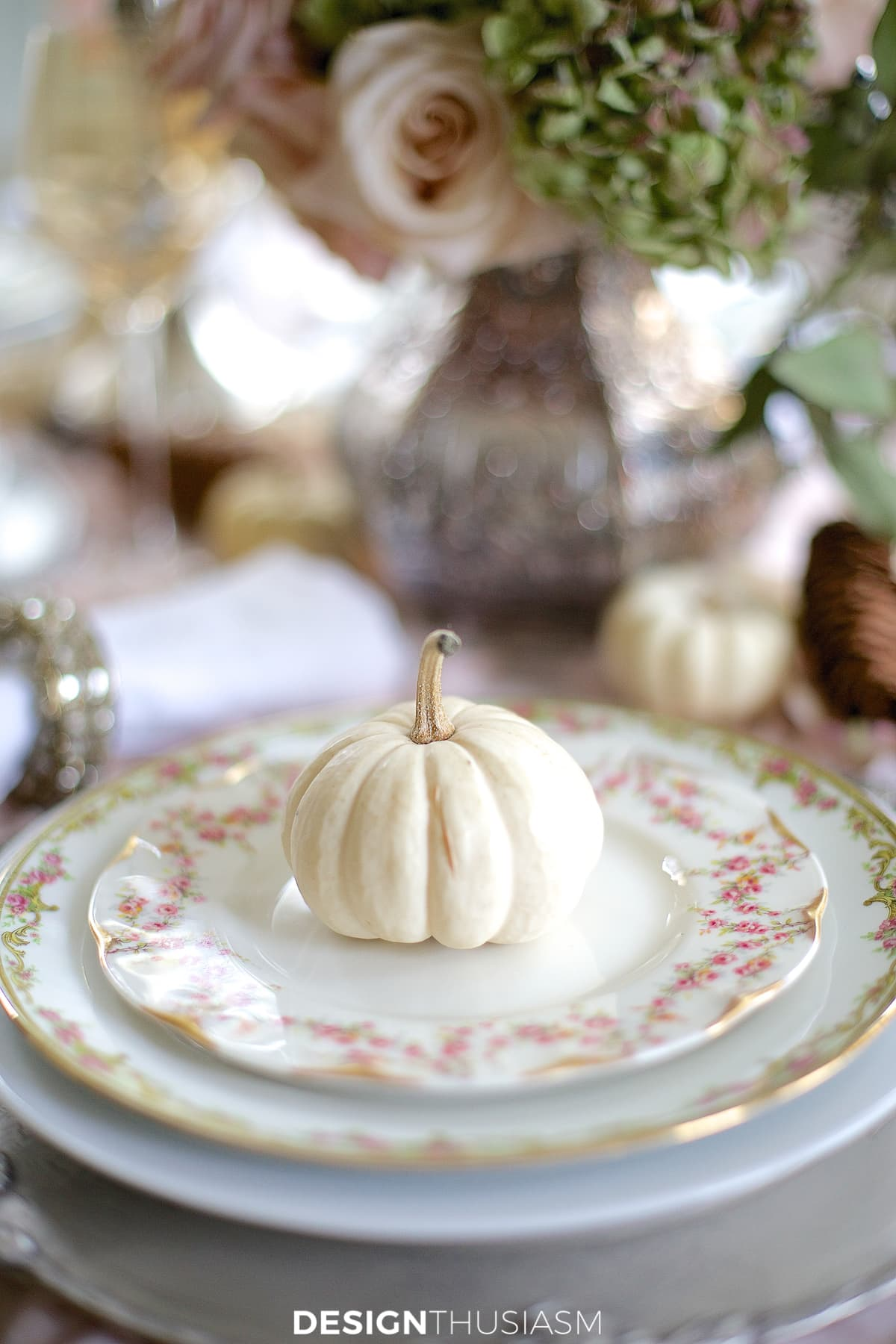 soft vintage thanksgiving table white pumpkin