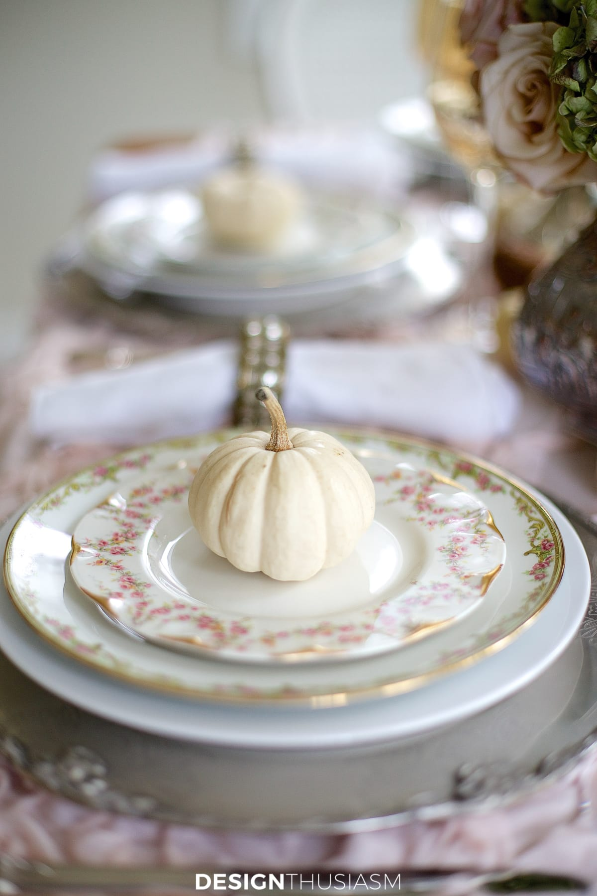 soft vintage thanksgiving table side view