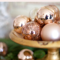 rose gold Christmas ornaments