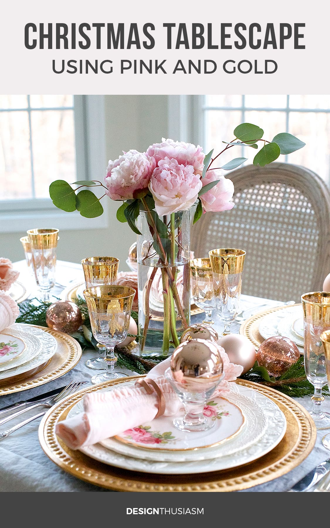 Elegant Holiday Table Setting With Gold And Pink Christmas Decorations