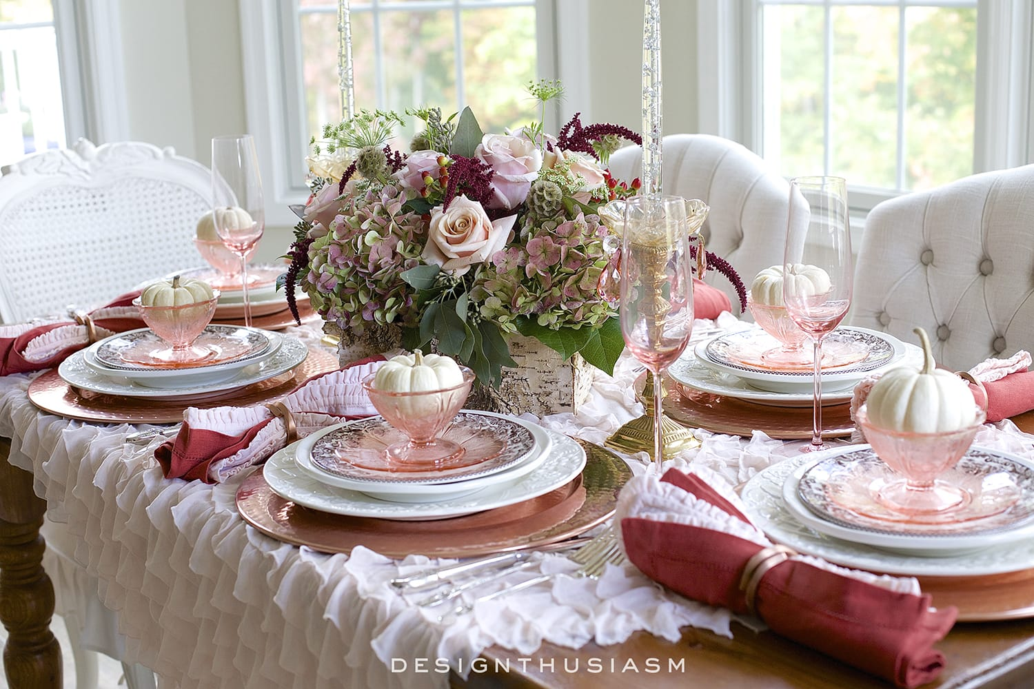 A Burnished Copper Tablescape for a Warm Thanksgiving Dinner | Designthusiasm.com