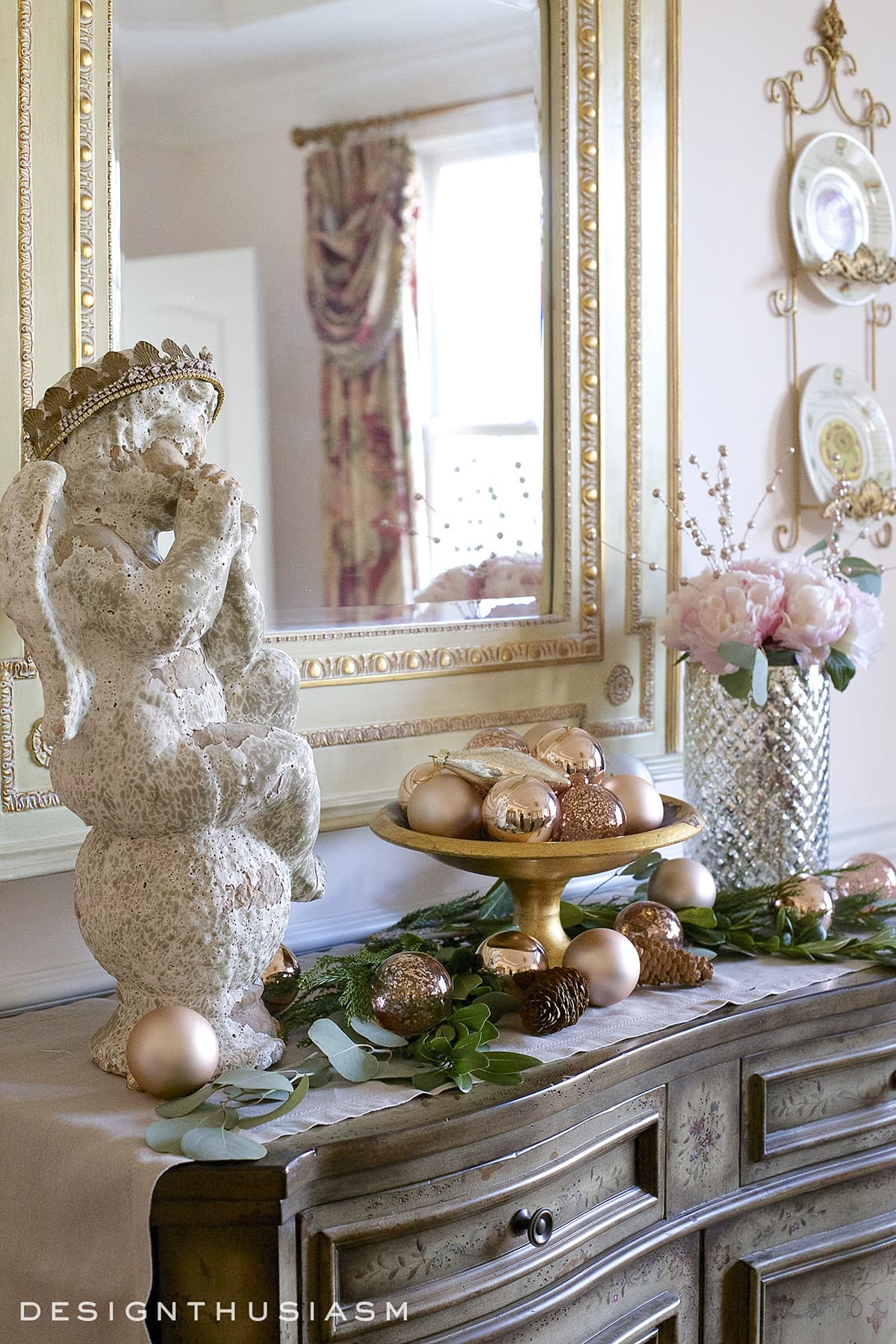 how to use rose gold christmas decor for the holidays
