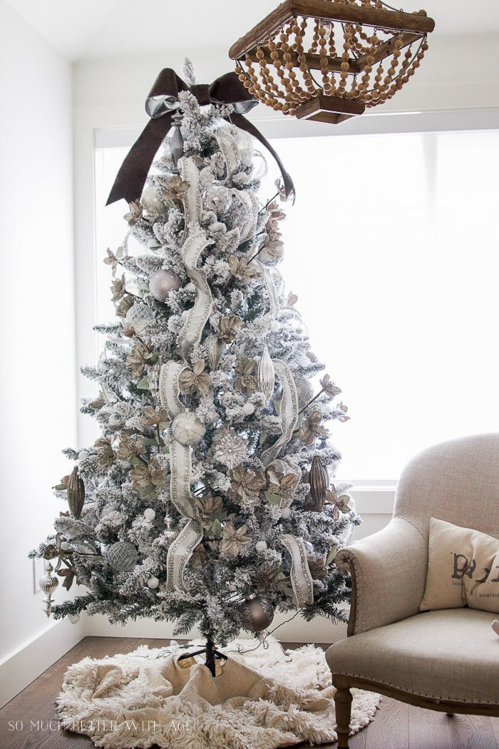 flocked christmas tree silver white ornaments - French Style Christmas Decorations
