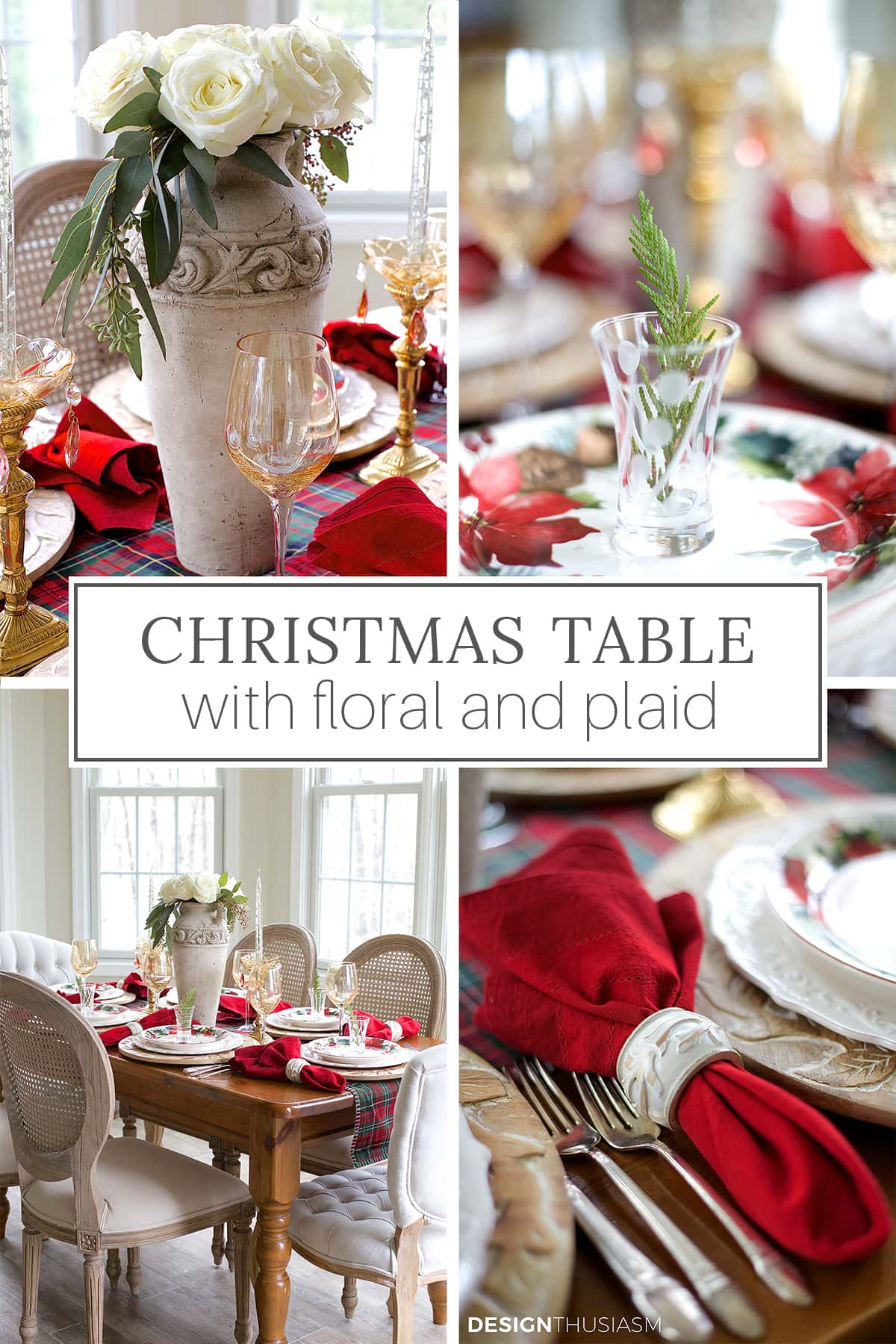 christmas table decorated with floral and plaid