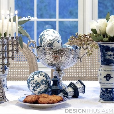 Using Blue and White Chinoiserie for Hanukkah Decorations