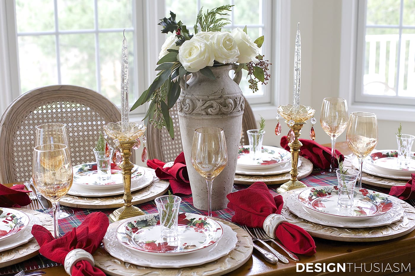 Cozy Christmas Tablescape with Floral and Plaid | Designthusiasm.com