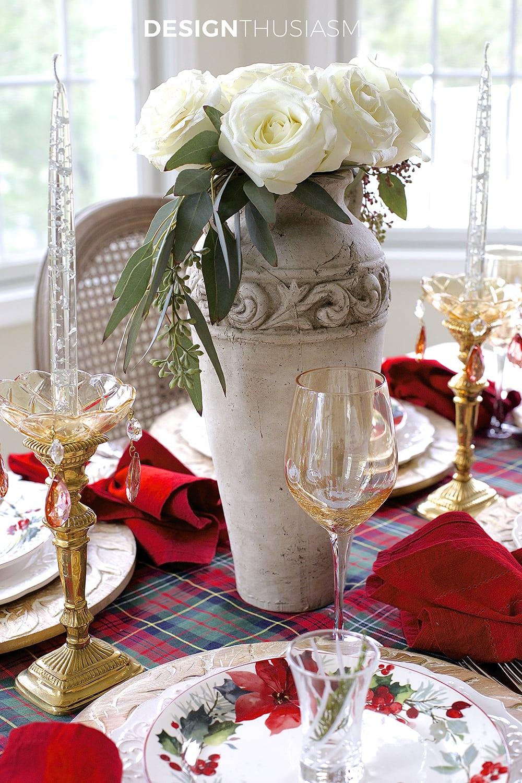 Cozy Christmas Tablescape with Floral and Plaid | Designthusiasm.com