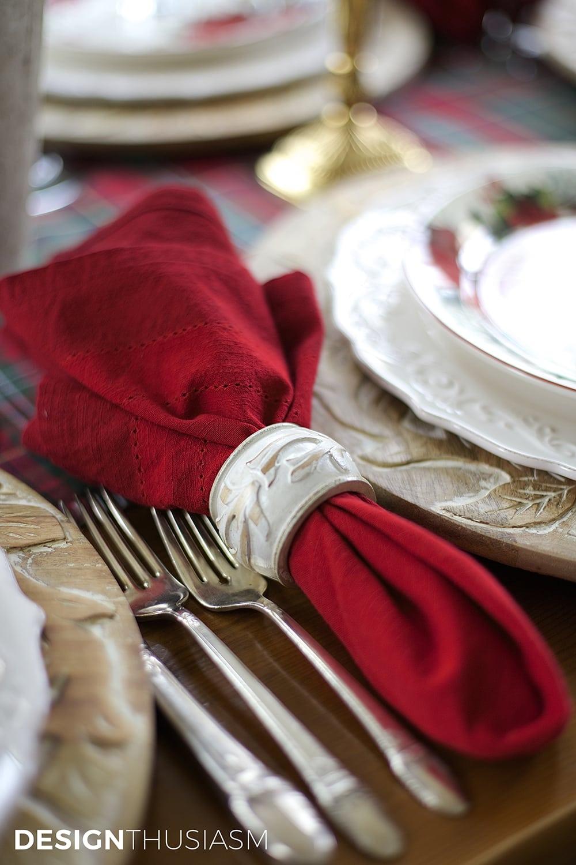 Cozy Christmas Tablescape with Floral and Plaid   Designthusiasm.com