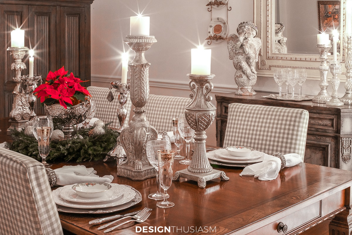 Christmas night lights tablescape