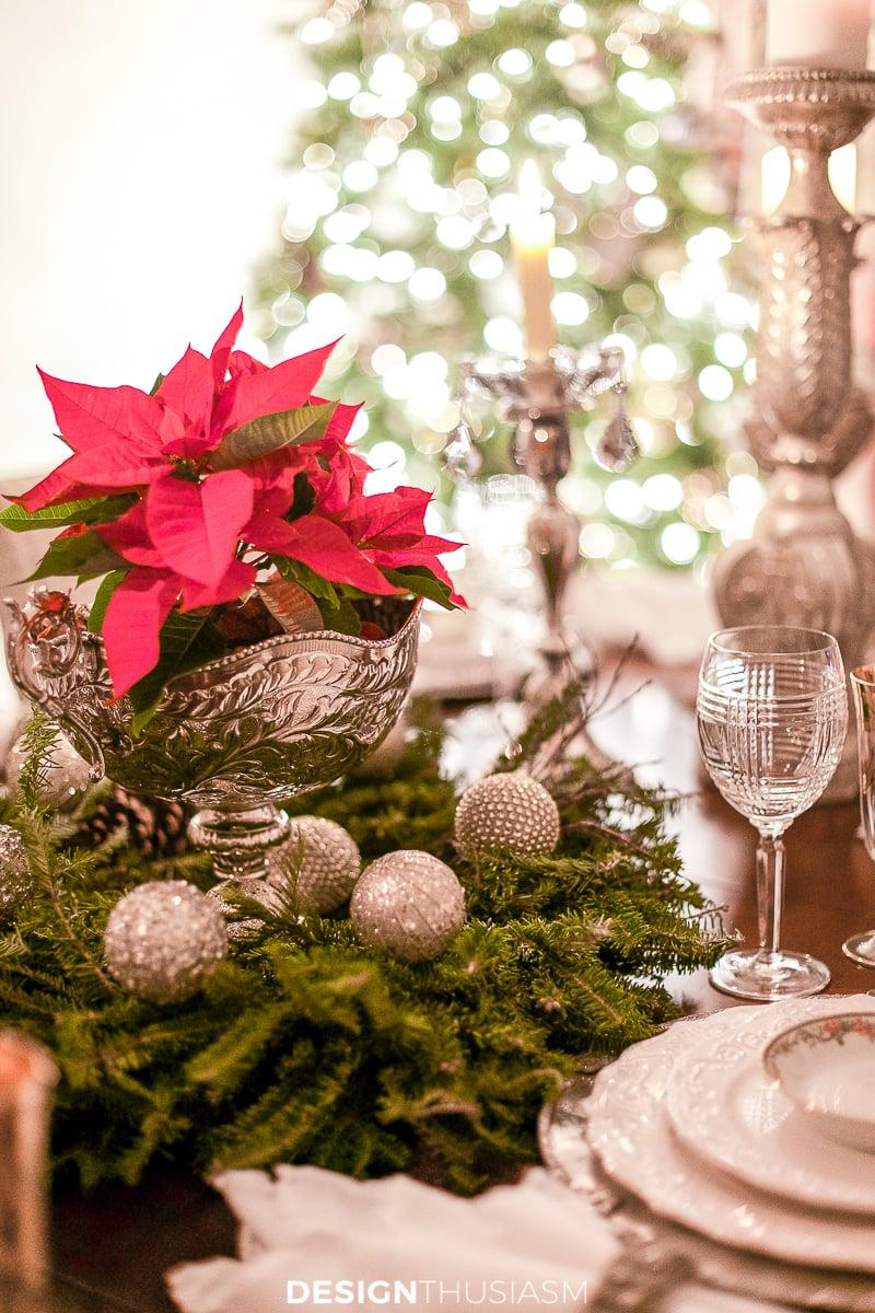 Christmas night poinsettia centerpiece