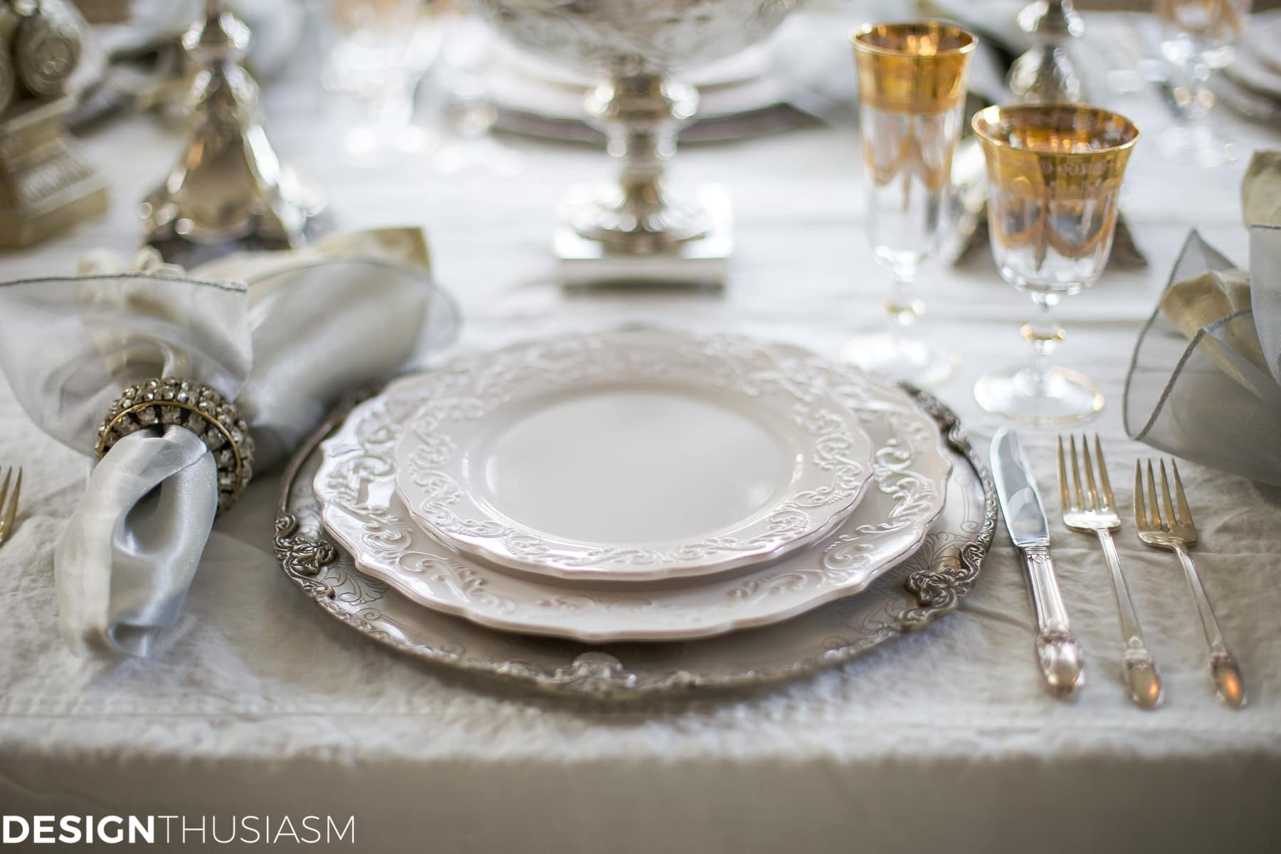New Year\'s Day Brunch Table Setting Mixing Gold and Silver